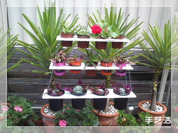 """我们去外面买花草植物时,植物的外面都有一个再生塑料材料的小花罐,不太好看。所以一般把植物买回家后,都会种在地上或者更大更漂亮的花盆里,之后都把起初的小花罐丢了。这次给大家介绍如何把这些小花罐利用起来,给植物做一个""""秋千"""",可以挂在架子上,树上,墙上,甚至晒衣架上。植物经过构思后排列组合,还可以经常换位置,随机性很强。废物利用,花几块钱就成了花园中、阳台上的一道风景。 下面是制作,种植和摆设过程:"""