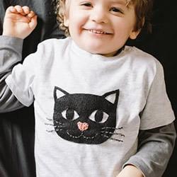 儿童T恤改造DIY 用不织布制作可爱猫咪图案