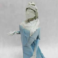 冰雪女王艾莎折纸图解 立体女性人物折纸教程