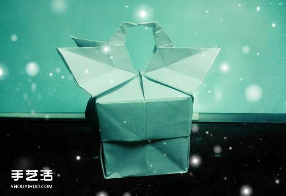 手工折纸漂亮盒子图解 带纸鹤包装盒子折法