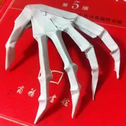 骷髅手骨的折纸方法图解 万圣节恐怖骷髅手折法