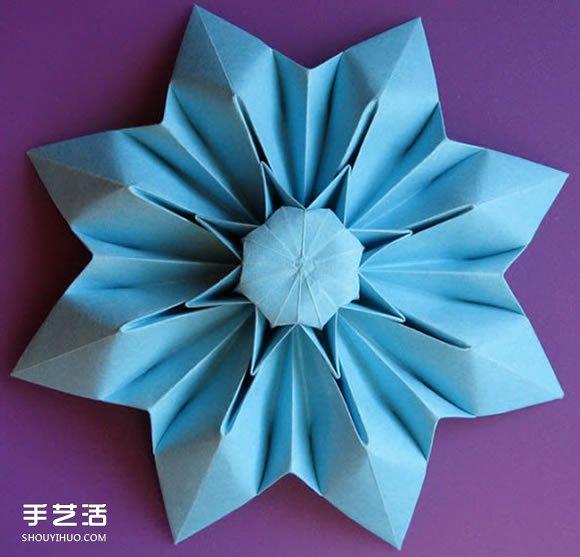 花折纸步骤图_三种八瓣花折纸方法图解 八瓣花的折法步骤图(2)_手艺活网
