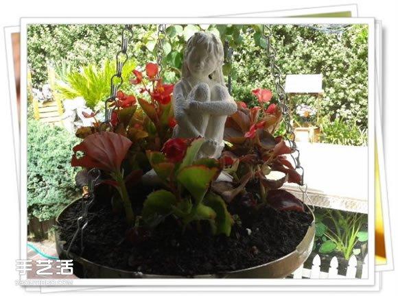 高压锅锅盖废物利用DIY制作花盆盆景的方法