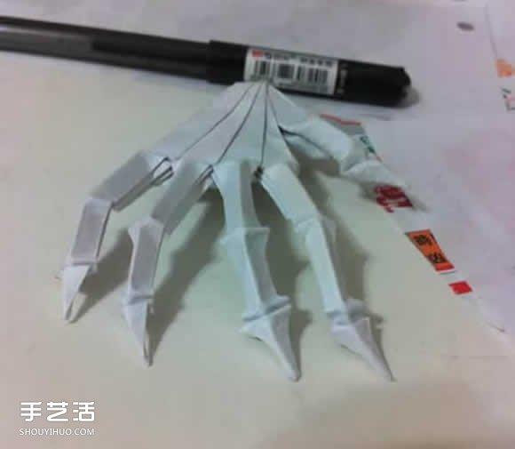 骷髅手骨的折纸方法图解