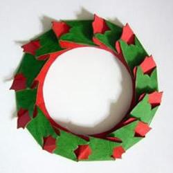 圣诞卡纸花环制作方法 圣诞贺卡装饰花环DIY