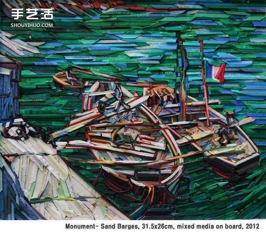 韩国的Lee Kyu-Hak喜爱梵高的绘画作品,于是同时酷爱手工的他,将废旧的报纸杂志等裁切成纸条,拼贴成色块组合,模拟出抽象风的梵高画作。当梵高遇上变废为宝的拼贴画时,你也不得不感叹Kyu-Hak的奇思妙想。