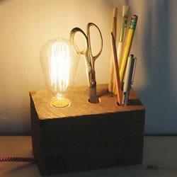 DIY自制原木台灯做法 木块手工制作台灯的方法
