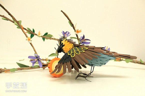 逼真的手工纸鸟图片 让你置身鸟语花香的世界 -  www.shouyihuo.com