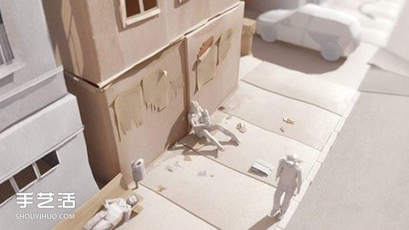逼真的城市紙模型作品 手工紙模型圖片欣賞
