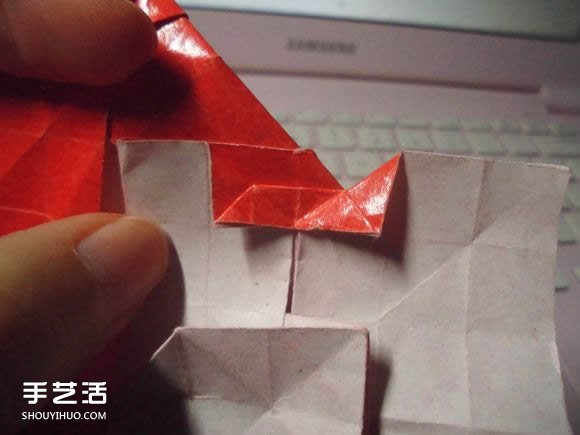 接吻鱼爱心折纸图解 超复杂桃心的折法过程(6)