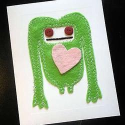 另类不织布小怪物情人节贺卡手工DIY制作图解