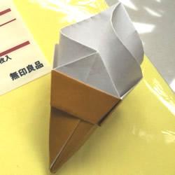 儿童手工折纸冰激凌 冰激凌的折法图解教程