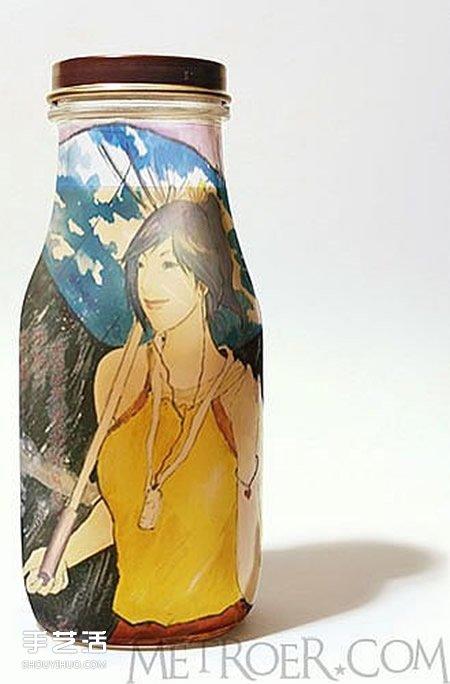 饮料瓶手绘图片大全 手工饮料瓶画画作品欣赏 - www.shouyihuo.com