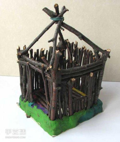 儿童小木屋制作教程 手工树枝房子的做法
