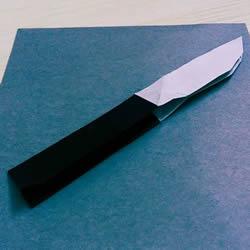折纸折叠小刀的折法 手工折可折叠弹簧刀图解