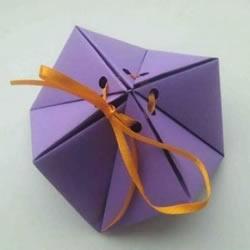 几何小礼盒的折法图解 手工折纸糖果盒子步骤