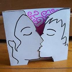 接吻情人节贺卡制作 自制亲吻情人节贺卡图解