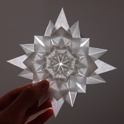 无限几何花折纸图解 多层几何花朵的折法步骤