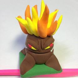超轻粘土手工制作植物大战僵尸的火炬树桩图解