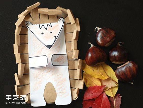 幼儿手工刺猬制作图片 简单剪纸小刺猬的做法