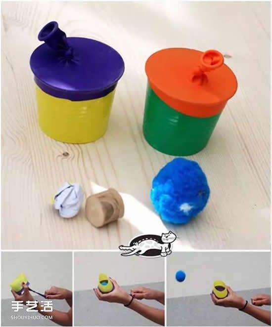 弹弹发射器手工小制作 幼儿弹射玩具制作图片 -  www.shouyihuo.com