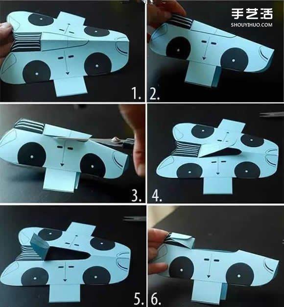 幼儿园卡通剪纸小汽车 卡纸简单制作小汽车图解