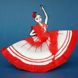 一次性纸盘手工制作弗朗明哥舞者的方法图解
