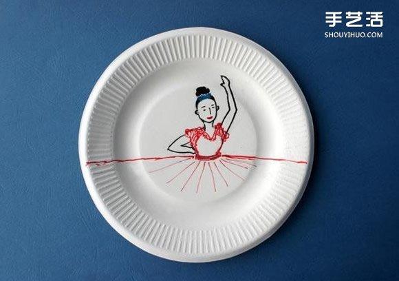 一次性纸盘手工制作弗朗明哥舞者的方法图解 -  www.shouyihuo.com