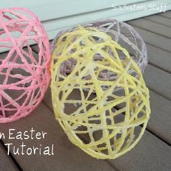 绳子制作复活节彩蛋 手工复活节空心彩蛋DIY