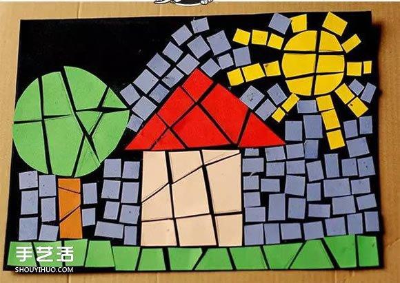 马赛克纸片拼图图案 简单幼儿碎纸拼贴画图片