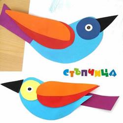 儿童剪纸贴画小鸟图片 幼儿园手工纸贴画鸟