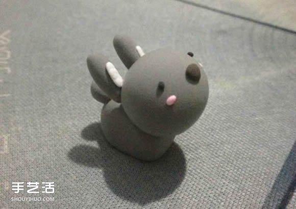 超轻粘土制作灰兔子 diy萌兔子粘土手工教程