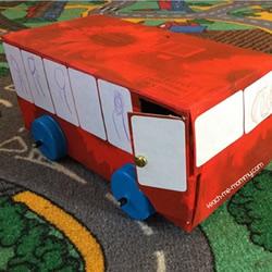 纸巾盒废物利用手工制作公交车的方法教程