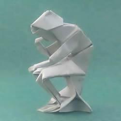 折纸思想者人物雕塑 沉思的人物折纸图解