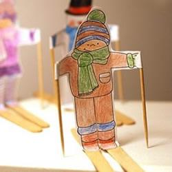 立体的溜冰小人制作 幼儿园溜冰纸片小人DIY