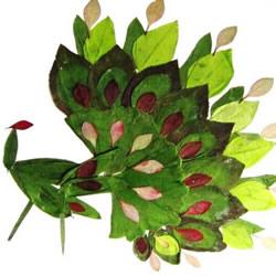儿童树叶贴画动物图片 动物的树叶拼贴画作品