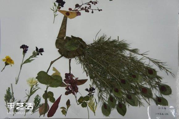 儿童树叶贴画动物图片 动物的树叶拼贴画作品图片