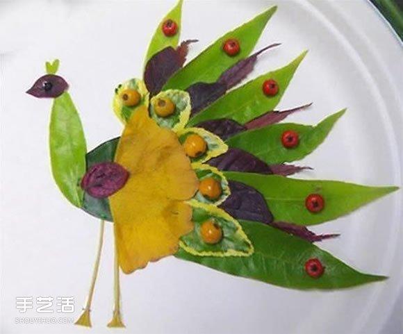 儿童树叶贴画动物图片