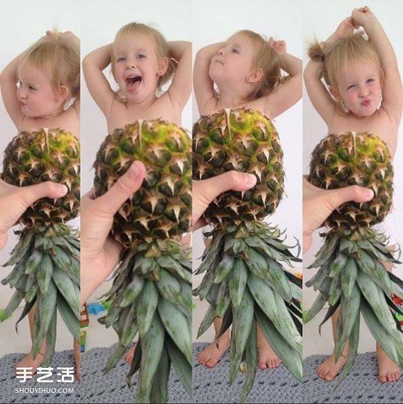 创意儿童照:小女孩穿上妈妈做的可爱蔬果礼服 -  www.shouyihuo.com