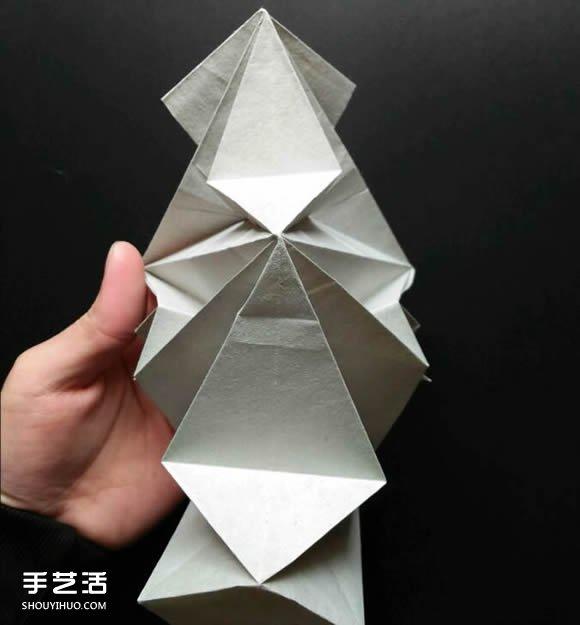超复杂折纸鲨鱼图解 立体鲨鱼的折法详细步骤(4)