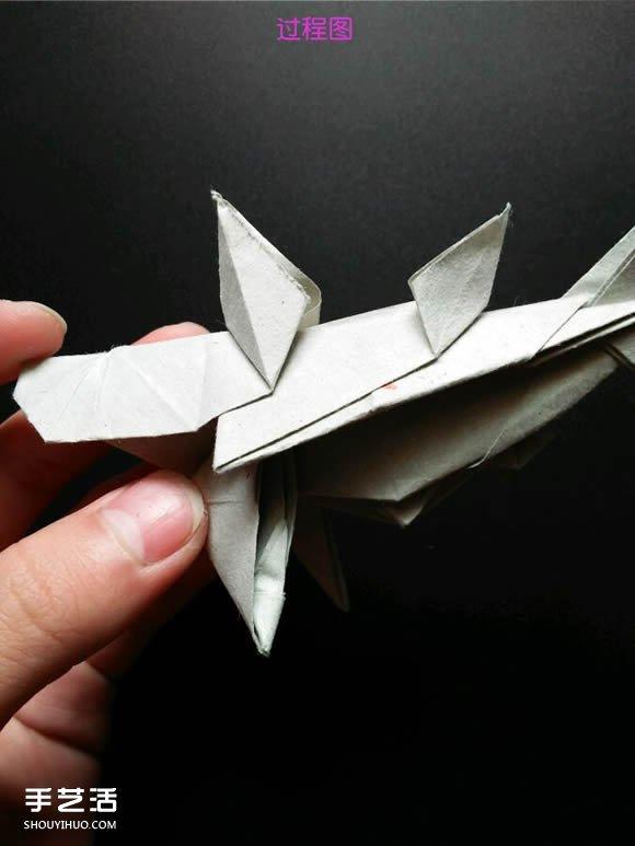 超复杂折纸鲨鱼图解 立体鲨鱼的折法详细步骤(7)