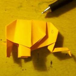 怎么用纸折大象的方法 平面大象的折纸图解