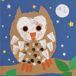 撕纸和手指画的融合 幼儿猫头鹰装饰画制作