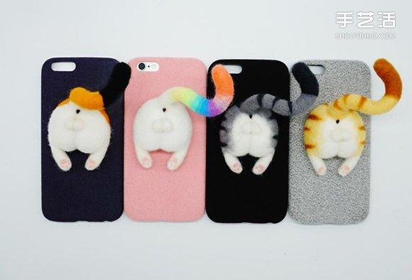 呆萌动物屁屁手机壳 羊毛毡DIY的可爱小物 -  www.shouyihuo.com