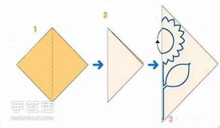 幼儿园剪纸向日葵教程 简单向日葵的剪纸方法 -  www.shouyihuo.com