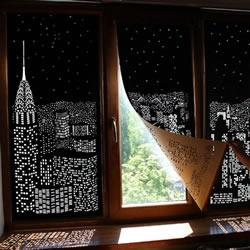 乌克兰手工城市剪影窗帘 镌刻白昼限定夜景