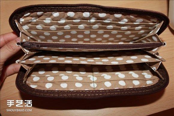 长款风琴钱包制作教程 褐花麻布长钱包DIY图解 -  www.shouyihuo.com