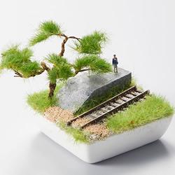 当火车驶进盆栽 日本Bonrama的盆栽风铁道模型
