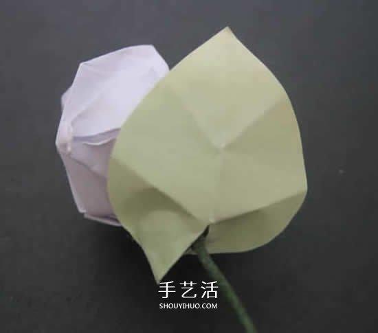 手工玫瑰花的折法图解 超详细折纸玫瑰步骤图(3)