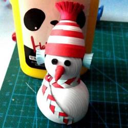 衍纸雪人的制作方法 衍纸手工制作立体雪人